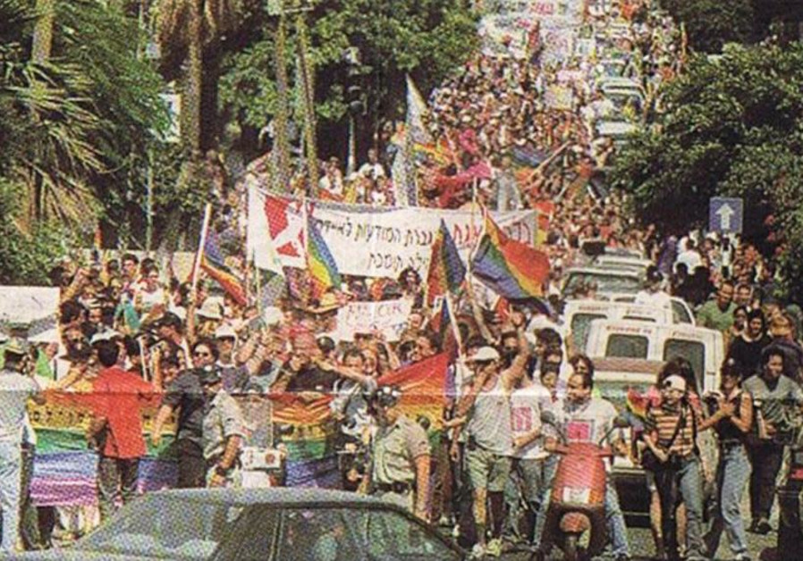 IMAGE FROM Israeli newspaper covering the first Pride Parade in Tel Aviv, 1998. (Photo credit: The Agudah – The Association for LGBTQ Equality in Israel)