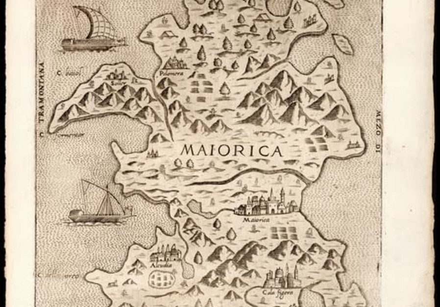 Majorca is located in the Mediterranean Sea, off the eastern coast of Spain. This map shows the island as depicted by pioneering 16th century mapmaker Giovanni Francesco Camocio. (Photo credit:  Eran Laor Cartographic Collection/National Library of Israel)