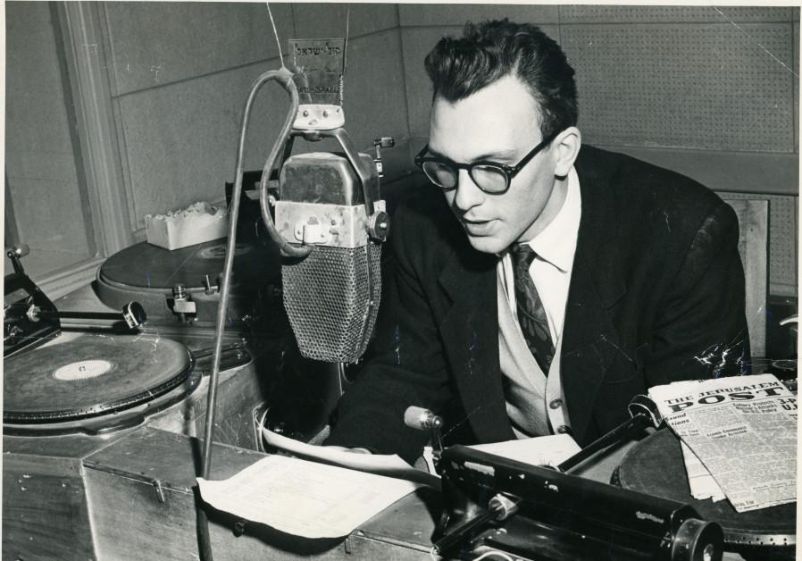 Avi-hai at Kol Yisrael (Voice of Israel) studios on Heleni Hamalka in 1957. (Photo credit: Courtesy Avraham Avi-Hai)