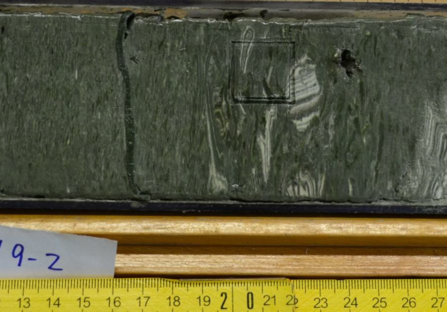 Earthquake-induced disruption of Dead Sea sediments observed in the drill core. (Credit: Tel Aviv University)