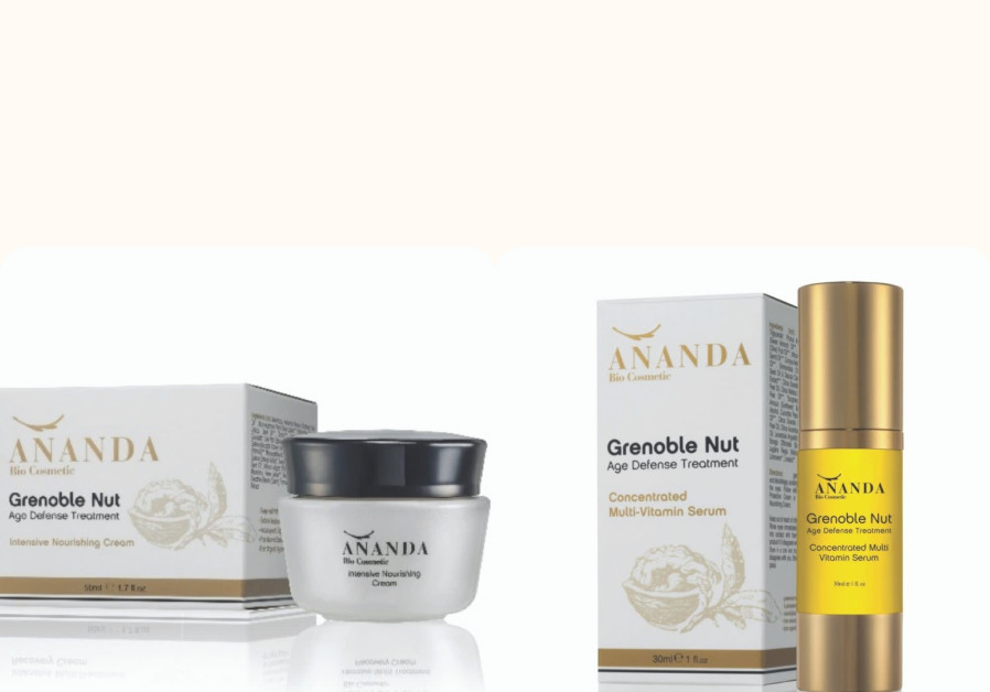 Ananda Bio Cosmetics' new Grenoble walnut-based anti-aging products. (Photo credit: Keith Glassman)