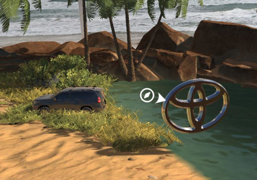 A Toyota Land Cruiser is seen being driven in an AR desert while at the beach. (Photo credit: Toyota Israel)