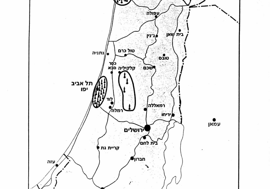 Map of Israel detailing where all the missiles fell. (Credit: IDF ARCHIVES, DEFENSE MINISTRY)