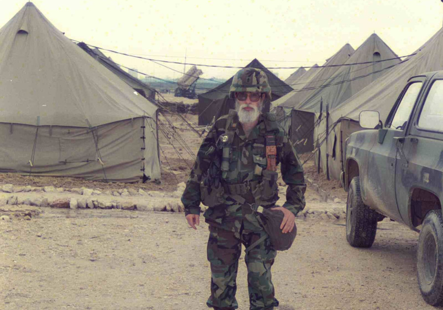 A patriotic rabbi: A US army chaplain in one of the Patriot air defense system missiles on a military base with a bulletproof vest. (Credit: IDF ARCHIVES DEFENSE MINISTRY AND GOEL AMIR)