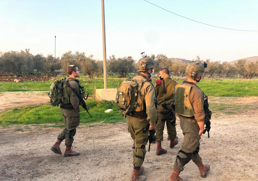 IDF soldiers at the scene of the attempted ramming attack, Saturday, January 9, 2020. (Credit: IDF Spokesperson's Unit)