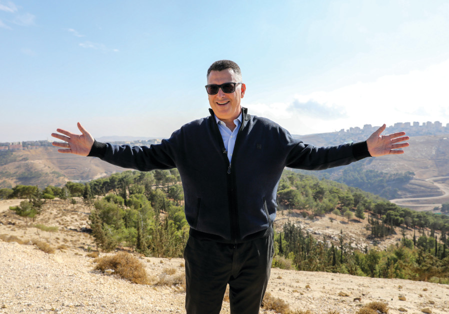 GIDEON SA'AR tours the Bedouin outpost of Khan al-Amar in the West Bank, December 2019. (Marc Israel Sellem)