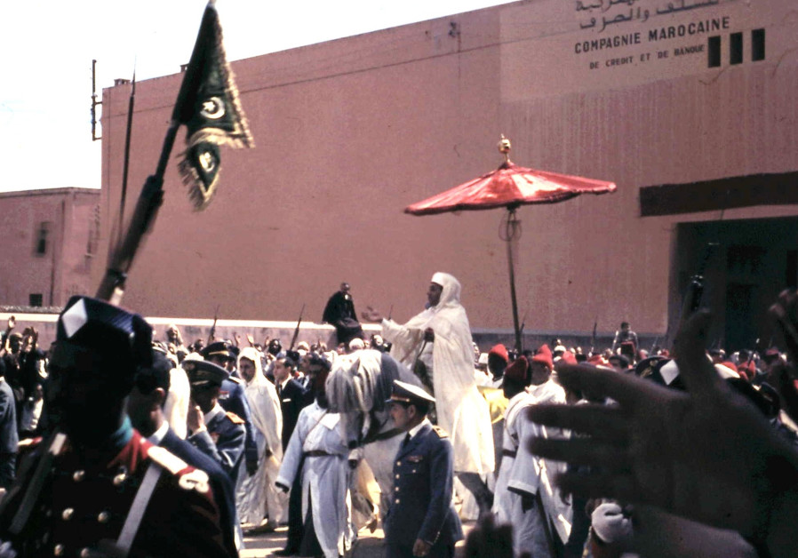 KING HASSAN II on the way to Friday prayers in Marrakech, 1966.  (Wikimedia Commons)