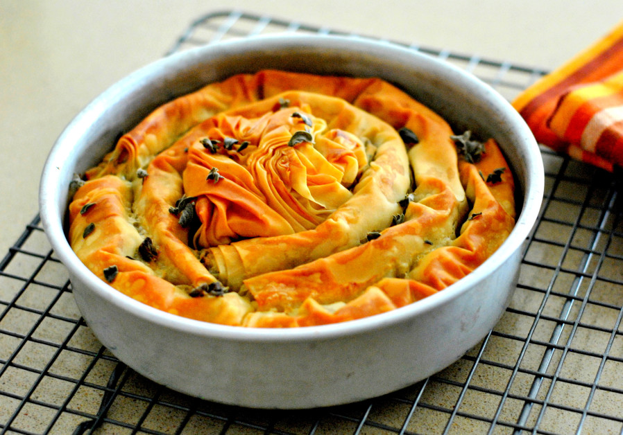 Cheese and Swiss chard filo pastry