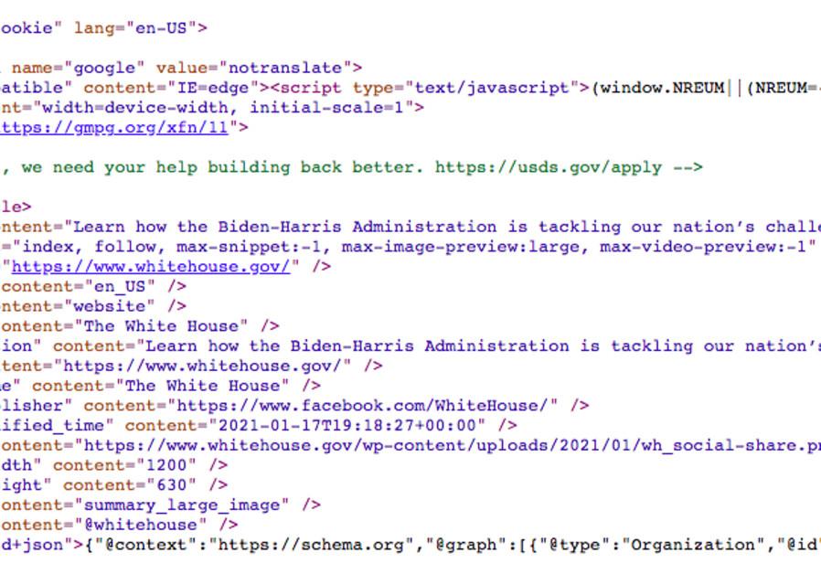 Secret code behind White House website (Screenshot)