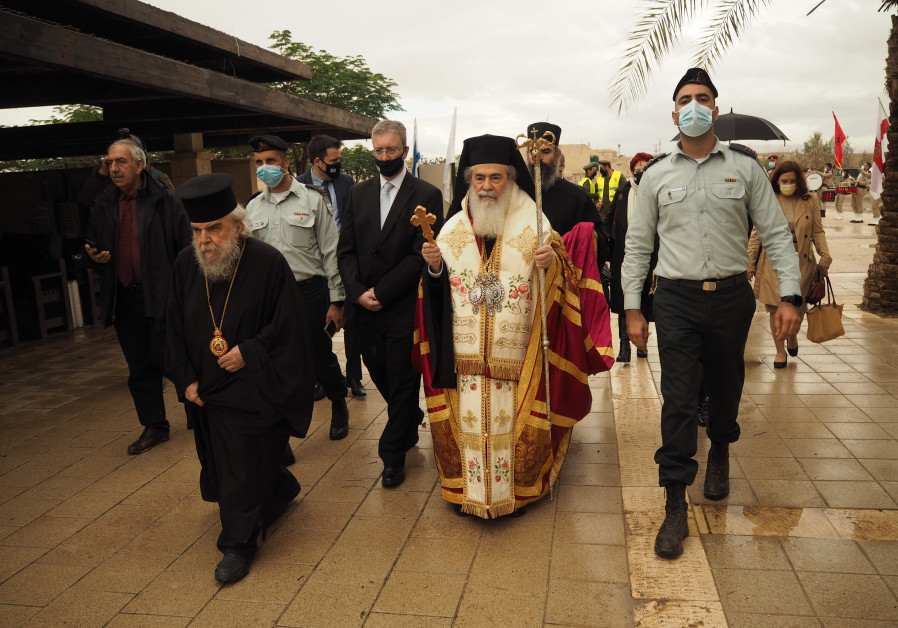 Greek Orthodox Patriarch of Jerusalem Beatitude Theophilos III walking to the Epiphany Service on January 18, by the Jordan River. (Igal Slavin)