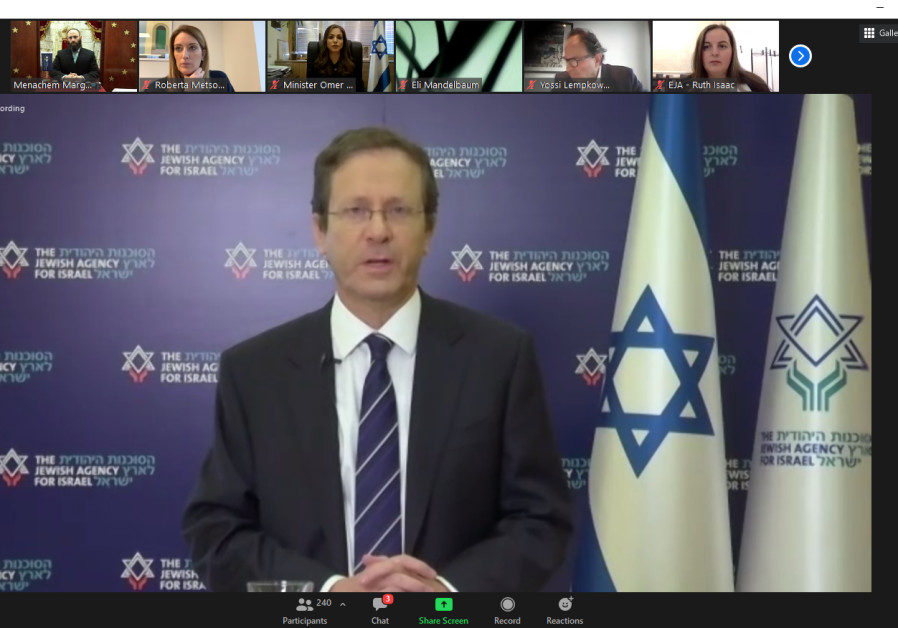 Mr. Isaac Herzog, chairman of the Jewish Agency, speaks at the European Jewish  Association's virtual commemorative event for International Holocaust Remembrance Day, January 27, 2021. (Credit: Courtesy)