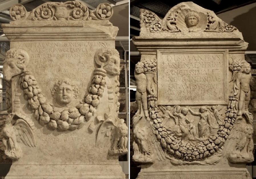 Funeral altars, dating to the time of Emperor Nero, which were dedicated to Flora and Passiena Prima by the freedman Tiberius Claudius Optatus. (Photo credit: Vatican Museum)