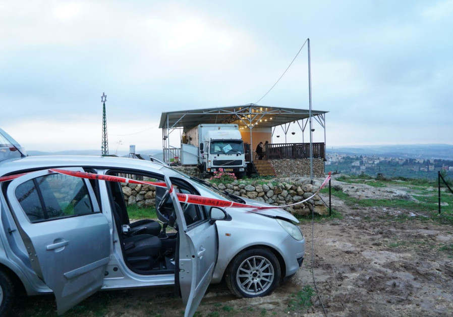 The car belonging to the Palestinian terrorist who infiltrated a Jewish farm in the West Bank on Thursday night, February 5, 2021. (Credit: IDF SPOKESPERSON'S UNIT)