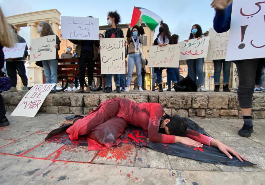 A protest against the rising crime and violence in the Arab sector in Israel, Jaffa, Saturday, February 6, 2021 (Credit: Sassoni Avshalom)