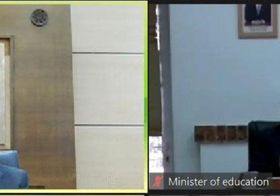 Moroccan Education Minister Saaid Amzazi and Israeli Education Minister Yoav Gallant speaking on Tuesday, February 9, 2021. (Credit: Courtesy)