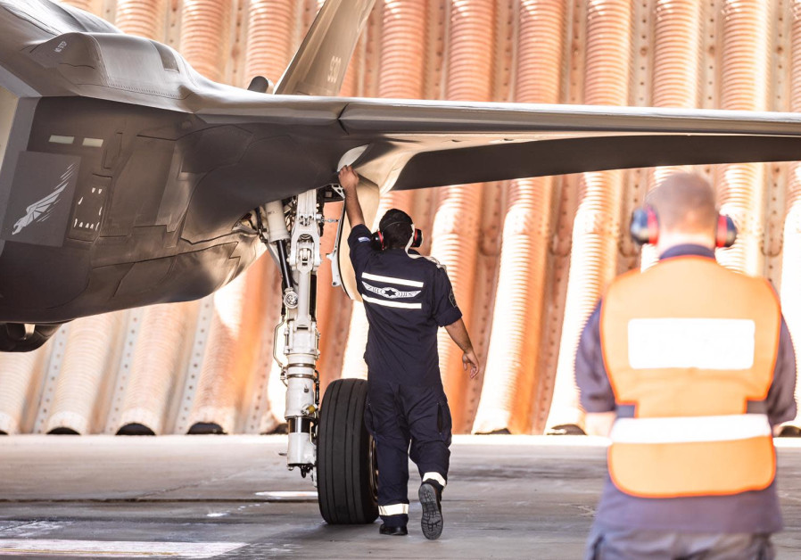 IAF personnel are seen readying a fighter jet for the Vered Hagalil drill. (Photo credit: IDF Spokesperson's Unit)