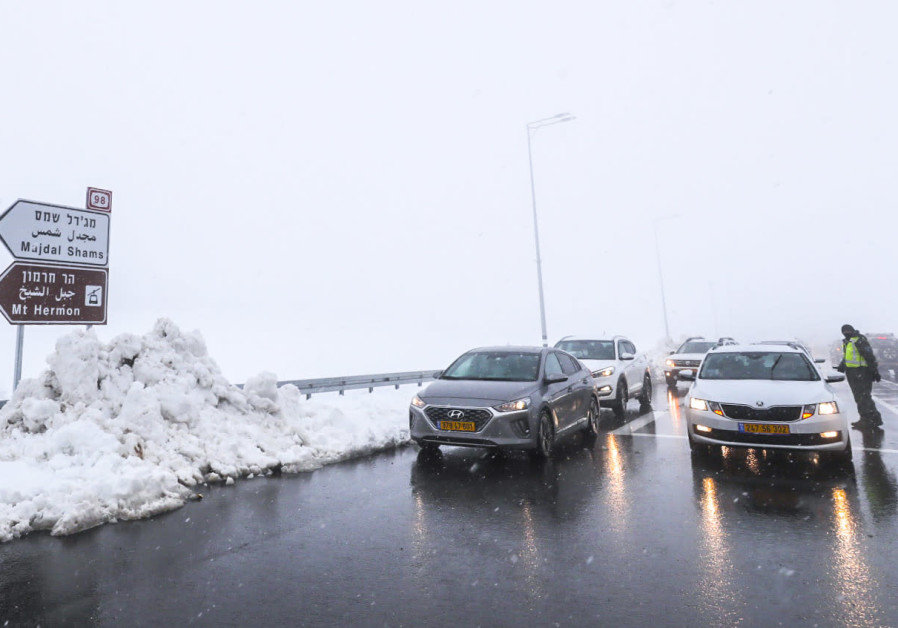 Snow in the Golan Heights, Northern Israel, February 19, 2021. (CHEN LEOPOLD/FLASH90)