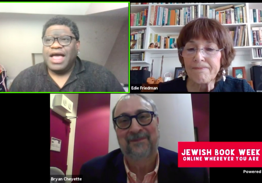 Bryan Cheyette, Edie Friedman and Gary Younge at the 69th annual London Jewish Book Week, which ran virtually this year due to the coronavirus pandemic. (Credit: COURTESY OF JEWISH BOOK WEEK)