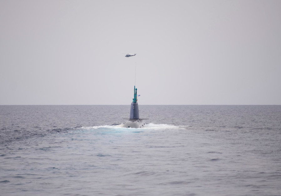 A submarine in the annual Noble Dina naval exercise for 2021, coordinated between Israel, Greece, Cyprus and France, March 12, 2021. (Credit: IDF SPOKESPERSON'S UNIT)