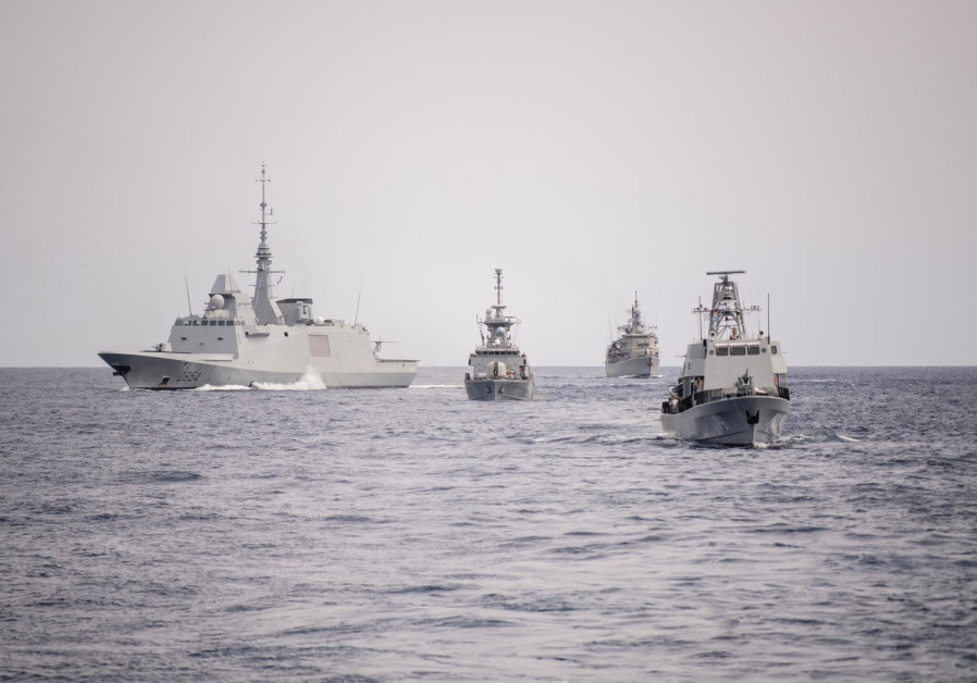 Naval vessels participating in the Noble Dina military drill between Israel, France, Cyprus and Greece, March 12, 2021. (Credit: IDF SPOKESPERSON'S UNIT)