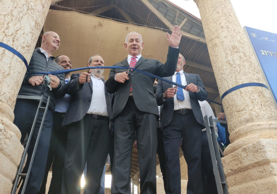 Prime Minister Benjamin Netanyahu cutting a ribbon at the site of the ancient Sussiya synagogue in the South Hebron Hills.(DUDI AVITAN)