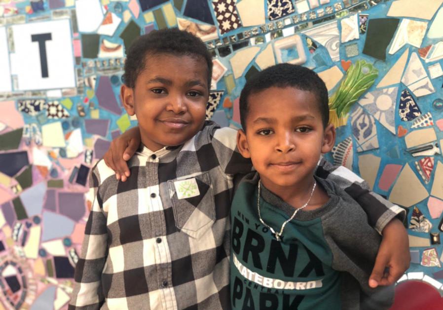 Biniyam Tesfahun Maru is seen alongside his friend Ibrahim. (Photo credit: Save a Child's Heart)