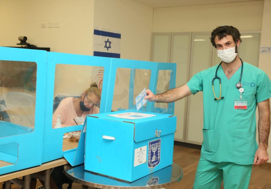 Voting stations in Israel's hospitals (MIRI SHMINOVITZ).