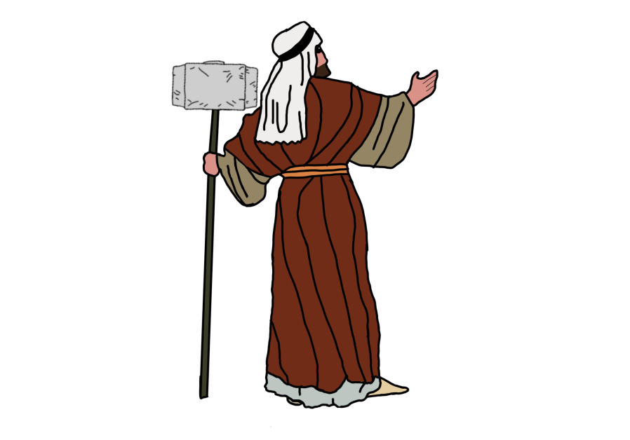 MOSES IS seen with a staff resembling the hammer Mjolnir wielded by the Marvel superhero Thor. (Photo Credit: Superhero Haggadah)