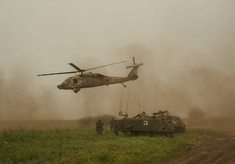 Israeli Air Force helicopters provide assistance during a tank drill on the Golan Heights in March 2021. (Credit: IDF)