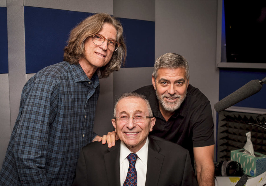 ACTOR GEORGE CLOONEY, narrator of 'Never Stop Dreaming, The Life and Legacy of Shimon Peres,' coming this year as a Netflix original documentary, with Hier and Trank, 2018. (Photo credit: Simon Wiesenthal Center)