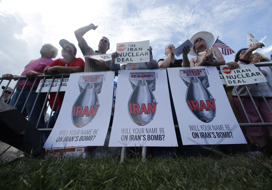 RALLYING AGAINST the Iran nuclear deal on Capitol Hill in Washington, 2015. (Photo credit: Jonathan Ernst/Reuters)