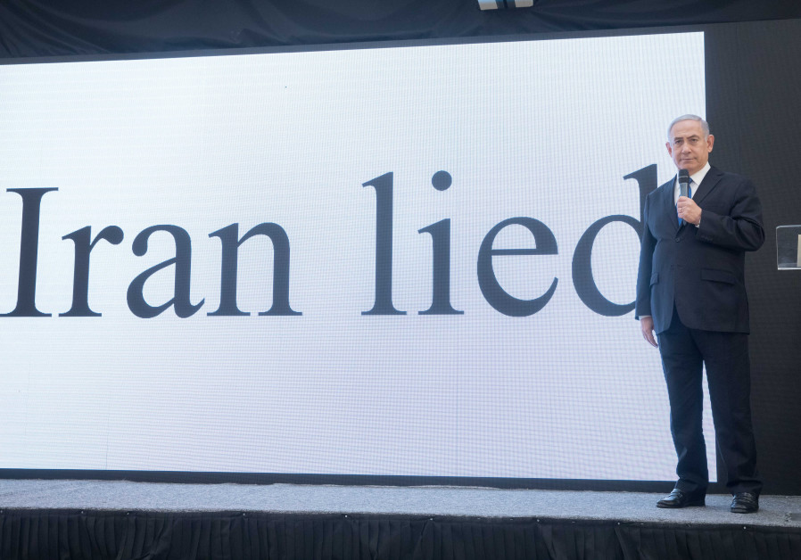 PRIME MINISTER Benjamin Netanyahu exposes files proving Iran's nuclear program in an April 2018 press conference at the Kirya in Tel Aviv. (Photo credit: Miriam Alster/Flash90)