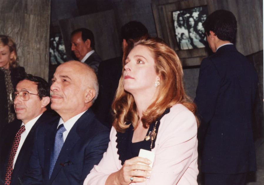 King Hussein and Queen Noor of Jordan with Rabbi Marvin Hier, founder and dean of the Simon Wiesenthal Center, in the Los Angeles Museum of Tolerance's Holocaust section, 1995 (Simon Wiesenthal Center)