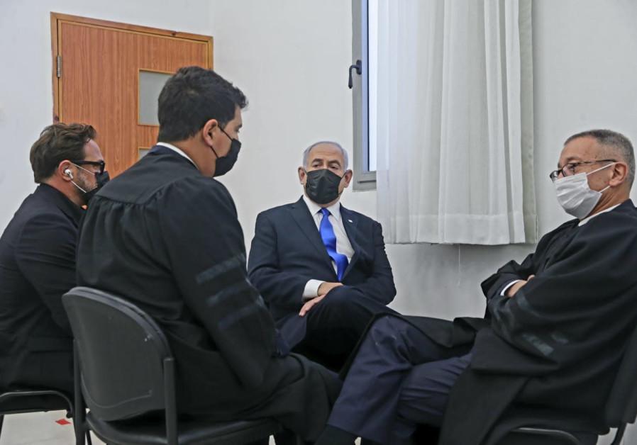 Prime Minister Benjamin Netanyahu attending his corruption trial on Monday. (Credit: OREN BEN HAKOON/POOL)