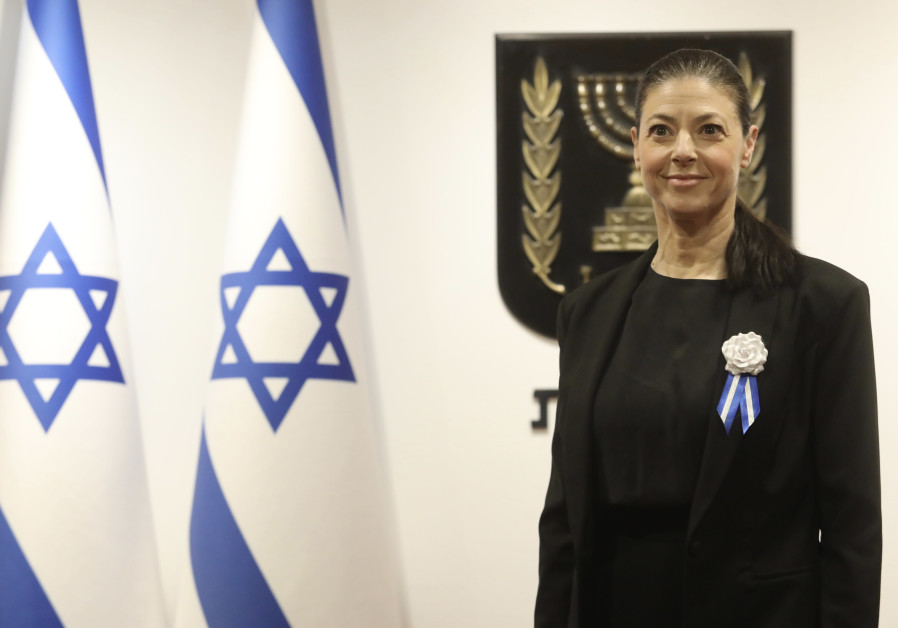 Labor leader Merav Michaeli is seen at the inauguration of the 24th Knesset, on April 6, 2021. (Photo credit: Marc Israel Sellem/The Jerusalem Post)