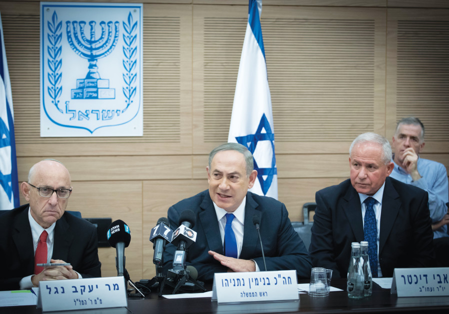 (From left) WRITER JACOB NAGEL, then national security adviser, with Prime Minister Benjamin Netanyahu and Foreign Affairs and Defense Committee head Avi Dichter at a 2017 meeting in the Knesset. (Photo Credit: YONATAN SINDEL/FLASH 90)