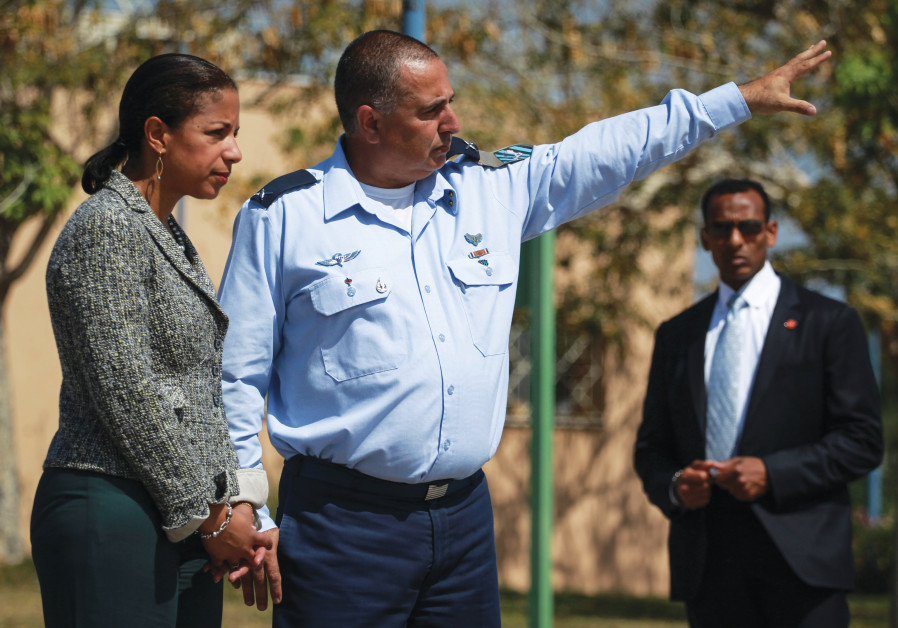 SHACHAR SHOHAT, then head of the Air Force's Aerial Defense Unit, accompanies US national security advisor Susan Rice on a 2014 visit to Palmachim Air Force Base. (Photo Credit: HADAS PARUSH/FLASH90)