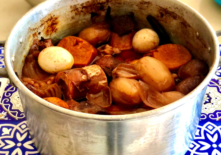Shkina cholent made with chickpeas and barley