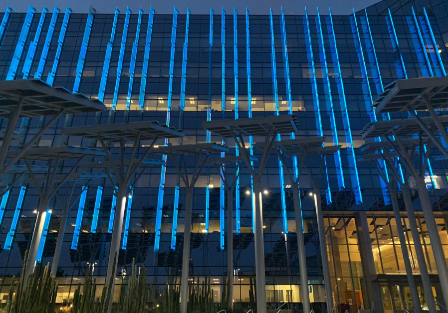 Las Vegas City Hall lights up in blue for Israel's 73rd Indpendence Day, April 15, 2021. (Credit: FOREIGN MINISTRY)