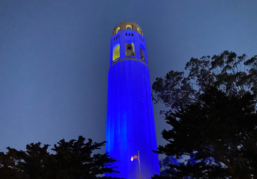 Coit Tower, one of the iconic landmarks of San Francisco, California, lights up in blue to celebrate Israel's 73rd Independence Day, April 15, 2021. (Credit: FOREIGN MINISTRY)