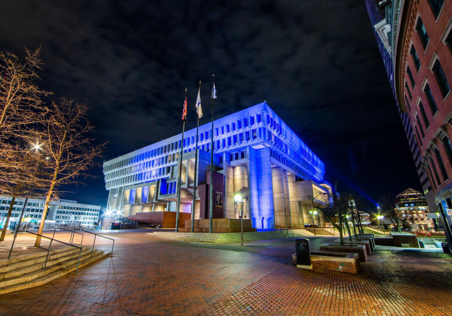 The Boston City Hall lights up in blue and white for Israel's 73rd Independence Day, April 15, 2021. (Credit: FOREIGN MINISTRY)