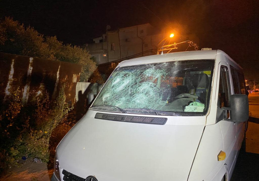 The damage sustained from rocks thrown during a brawl between two Ramle families, which culminated in the arrests of 69 individuals, April 16, 2021. (Credit: ISRAEL POLICE)