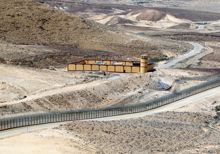 ONE OF many identical Egyptian border outposts positioned at regular intervals along the fence. (Photo credit: Ori Lewis)