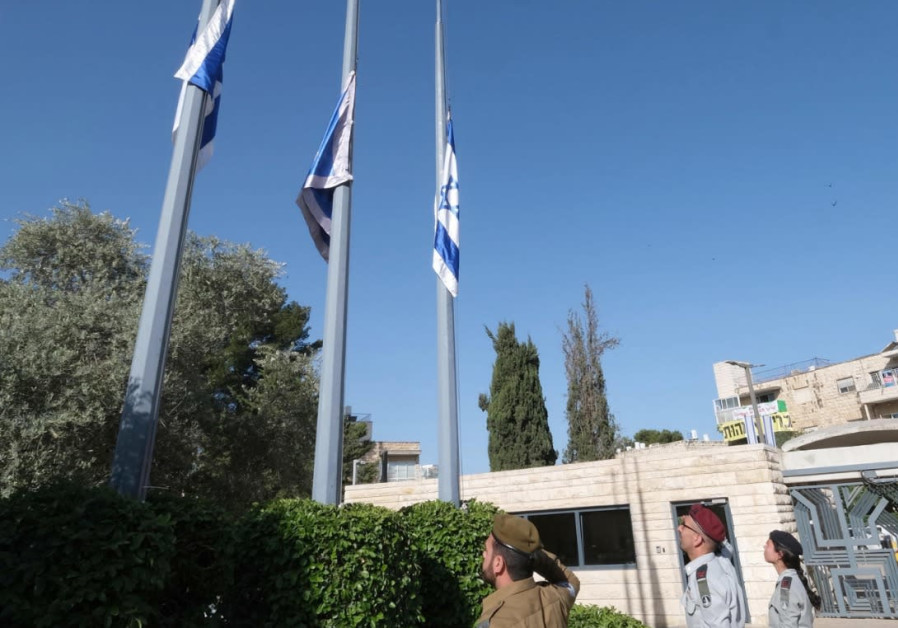 The flags at Beit HaNasi were lowered to half mast to mark the national day of mourning today, Sunday 2 May 2021 / 20 Iyyar 5781, for the Har Meron disaster. (Photo Credit: MARK NEYMAN/GPO)