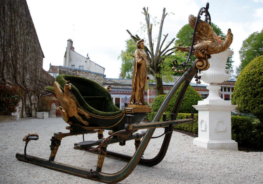 A sleigh having belonged to the Empress Josephine of France is displayed at Osenat auction house before being put on auction for the bicentenary of Napoleon's death, in Fontainebleau, near Paris, France, April 30, 2021