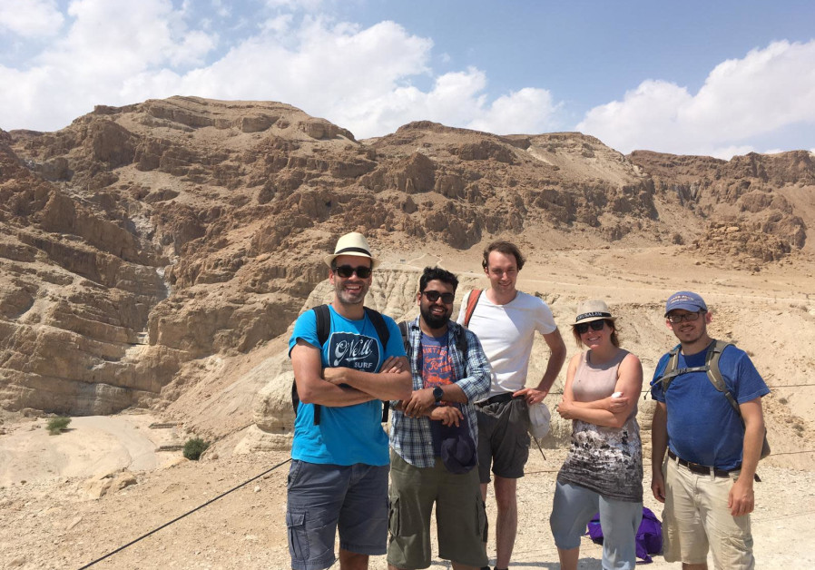 """The Hands that Wrote the Bible,"" project team visiting Qumran. (Photo credit: Courtesy Gemma Hayes)"