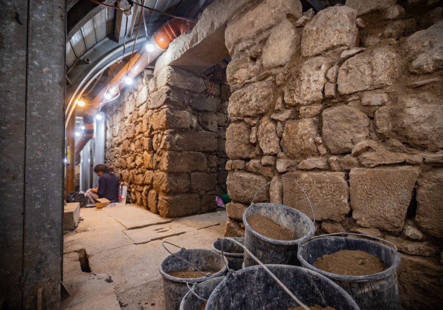 The building on the Pilgrimage Road in the City of David, where the bronze oil lamp was uncovered. ( Koby Harati, City of David)
