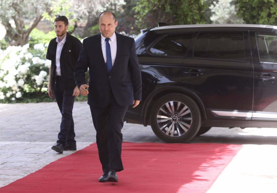 Yamina chairman Naftali Bennett arrives at the President's Residence (Marc Israel Sellem/The Jerusalem Post)