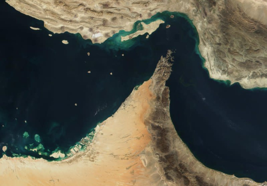 THE STRAIT of Hormuz between Iran and Oman is a major artery for oil circulation, targeted by Iran in the event of war. (Photo credit: Wikimedia Commons)