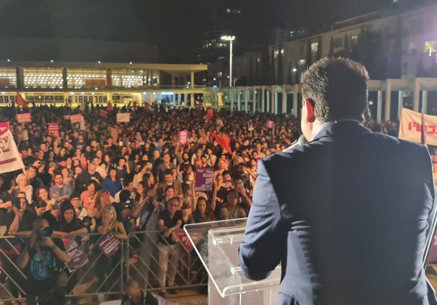 JOINT LIST Image Name : Joint List leader Ayman Odeh speaks at Habima Square, Saturday, May 22, 2021.